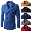 Men's Foreign Trade Double-breasted Windbreaker Woolen Sweater Wine Red/Gray/Blue/Black/Navy Blue/Camel M-3XL