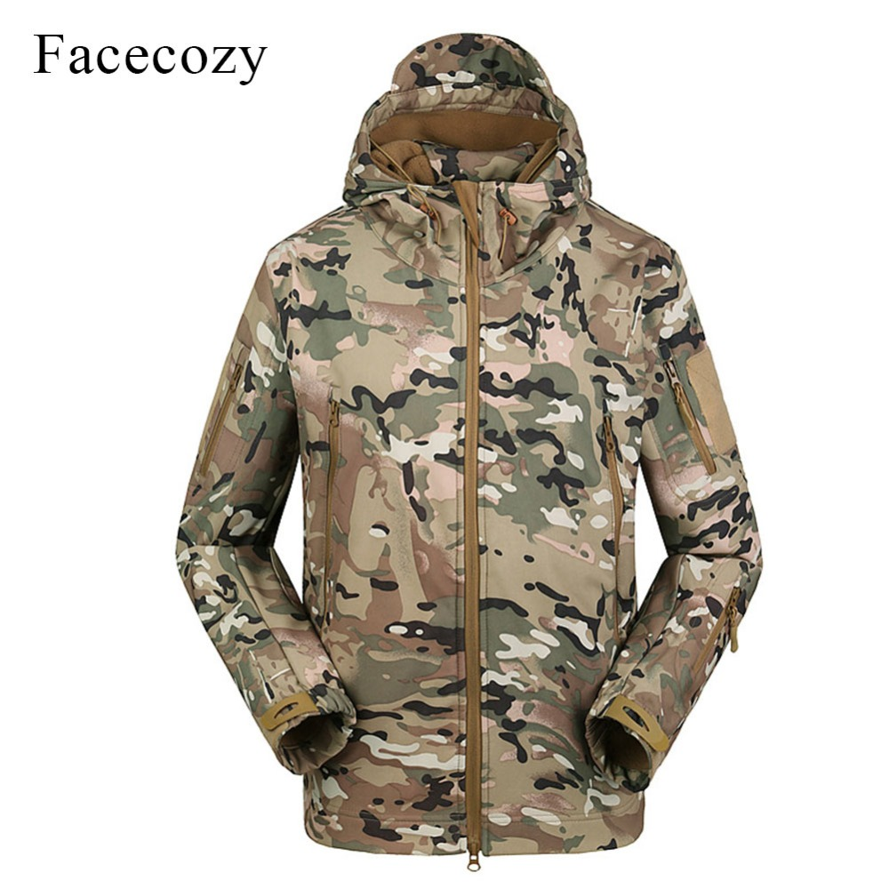 Facecozy Men 2018 Waterproof Outdoor Hiking Jackets Military Tactical Windproof Coat Softshell Camping Hunt Camouflage indbreak facecozy men summer camouflage sports shorts male outdoor tactical military fishing short trouser with multi pockets
