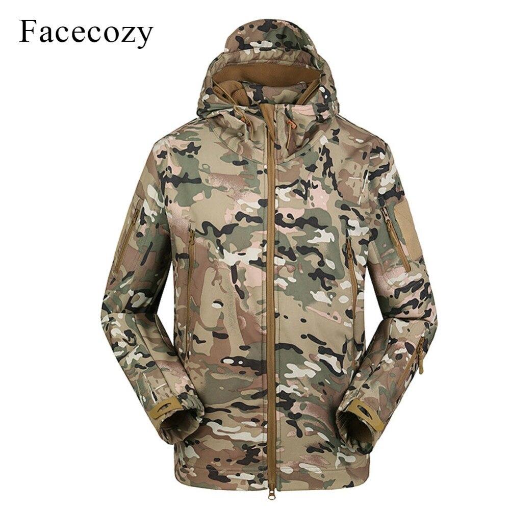 Facecozy Men 2019 Waterproof Outdoor Hiking Jackets Military Tactical Windproof Coat Softshell Camping Hunt Camouflage Indbreak