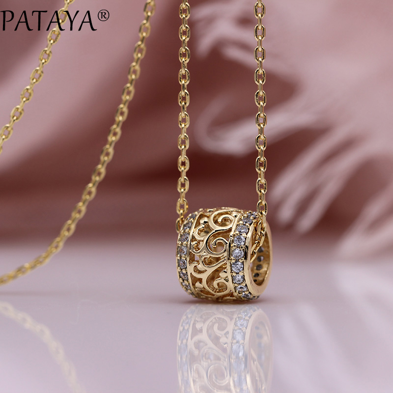 PATAYA New Round Long Necklaces Micro-wax Inlay Natural Zircon Luxury Hollow Pendants 585 Rose Gold Women Fine Fashion Jewelry