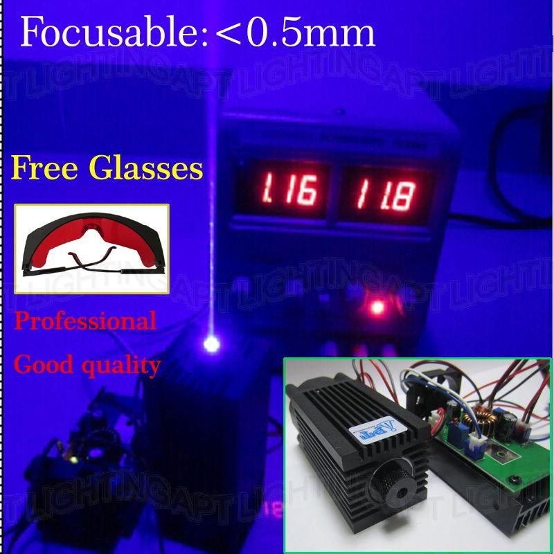 Todella suuri teho 2000mw / 2w 445nm 450nm tarkennettavissa Säädä sininen lasermoduuli diodi laserveistä Kaiverrus TTL DIY CNC Free lasit