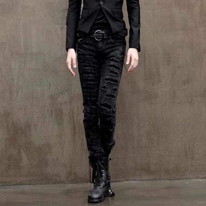 spring Summer Individuality Holes Men Jeans Fashion Casual Bound Feet Mid-low Waist Slim Full Length Black Pants free shipping