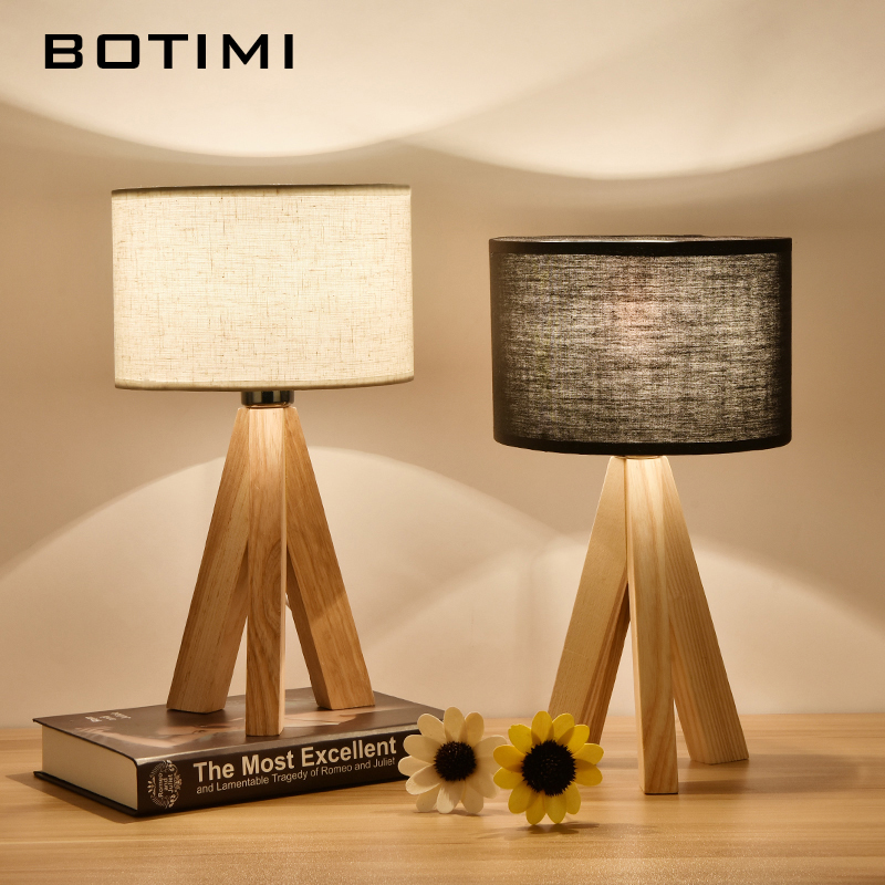 BOTIMI Wooden Table Lamp With Fabric Lampshade Wood Bedside Desk lights Modern Book Lamps E27 110V 220V Reading Lighting Fixture botimi nordic led table lamp with metal lampshade for bedroom white bedside desk lights black reading lamps wooden luminaria