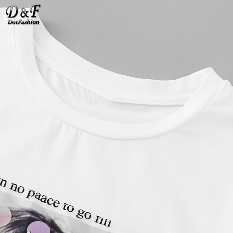 White Bow Front Sequin Detail Figure Print Streetwear Tee  2