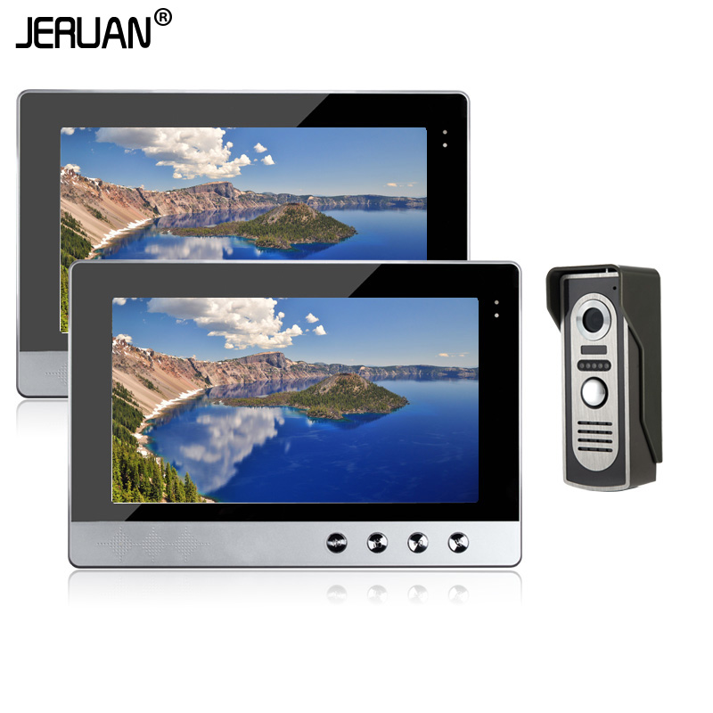JERUAN Home safety system 10 inch Video DoorPhone Intercom System Kit Set + 2 Monitor + Night Vision Outdoor Camera In Stock jeatone 10 hd wired video doorphone intercom kit 3 silver monitor doorbell with 2 ir night vision 2 8mm lens outdoor cameras