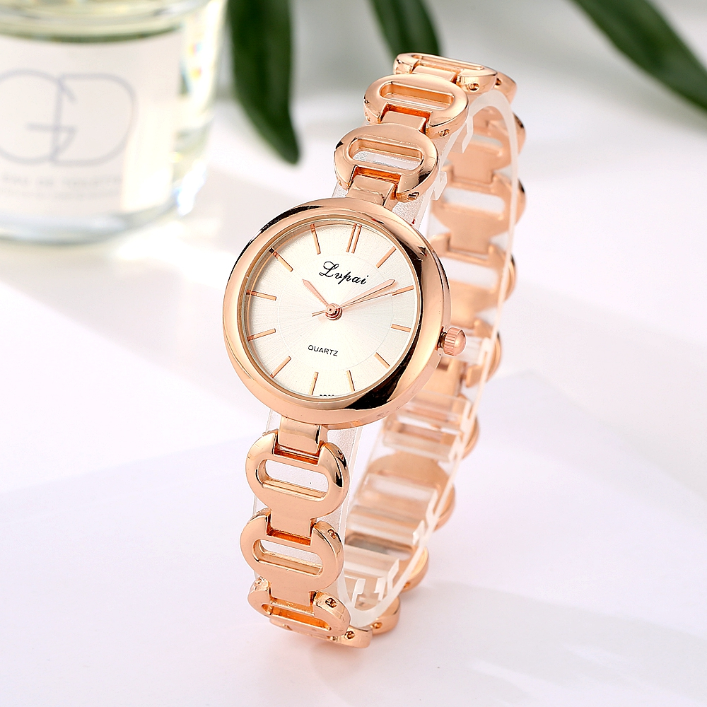 2017 New Lvpai Trendy Brand Rose Luxury Quartz Watch Simple Fashion Stainless Steel Bracelet Watch Ladies Casual Clock Watches