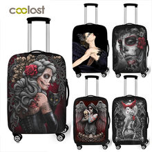 new arrival cool punk gothic skull travel suitcase cover for 18 -32 inch luggage punk skeleton trolley case covers(China)