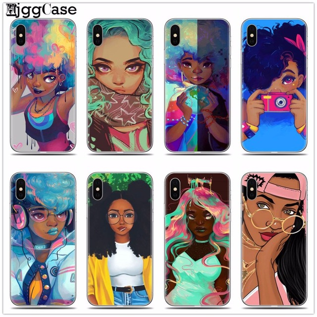 Afro Girls Soft Silicone Phone Cover Case For iPhone 7 5 5S SE 6 6S 6Plus 6SPlus 7Plus X 8 8Plus Black Women art Cases