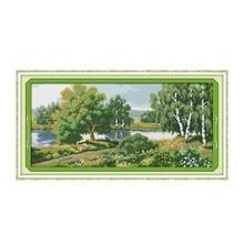 Речной пейзаж зеленый вышивки крестом материалы ручной посылка Вышивание Мебель Ткань картина