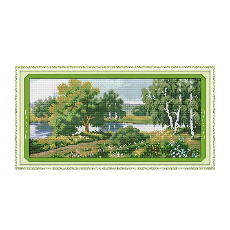 Landscape River green cross stitch handmade materials package sewing embroidery furniture cloth wall decoration paintings