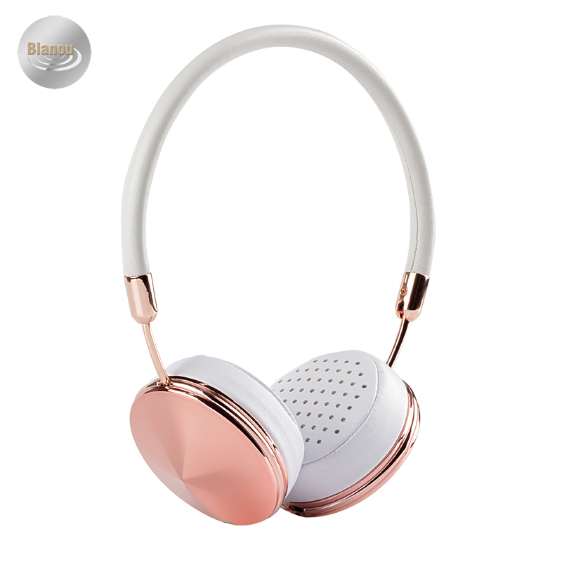 White Rose Gold Headband On Ear Headphones with Microphone Women Folding Stereo Headset with Storage Case for Music Headphones-in Headphone/Headset from Consumer Electronics    3