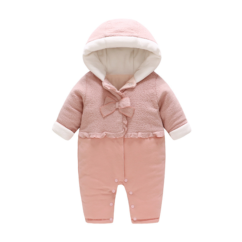 Baby Cotton Coat Clothes Kids Bodysuits Pink Butterfiy Knot Thickened Baby Romper 2018 New Fashion Style Little Girls Clothing doomagic bee style cotton baby romper black yellow
