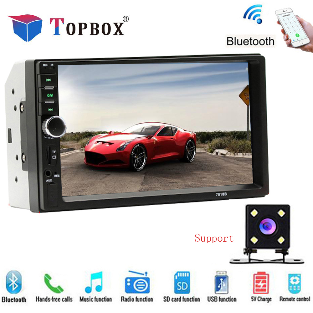 Topbox Autoradio 2 Din voiture commune modèles 7 ''LCD écran tactile voiture Bluetooth Radio Support Audio caméra de recul 7018B