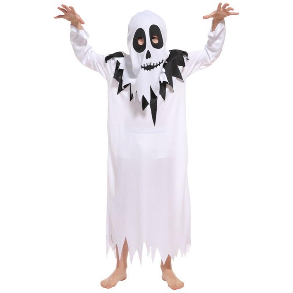 Kids Ghost Halloween Costumes Boys Girls Cosplay Dress up Scary White Robe Fancy Dresses girls dresses trolls poppy cosplay costume dress for girl poppy dress streetwear halloween clothes kids fancy dresses trolls wig