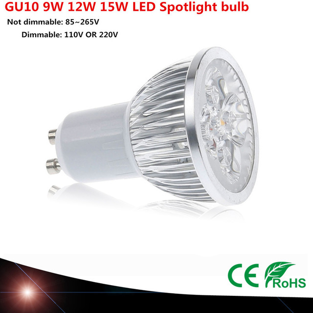 10pcs Super Bright 9 W 12 W 15 W GU10 LED lamp 110 V 220 V Dimmable Led Spotlight warm / Natural / Cools White GU10 LED lamp 5 x 1w led driver w gu10 connector base white