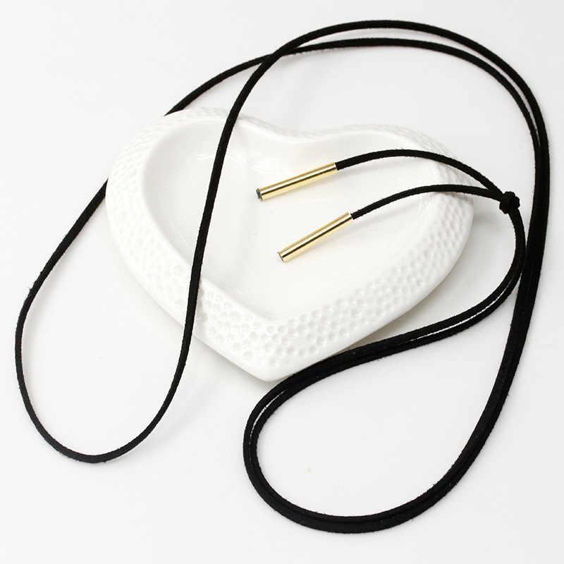 Phụ nữ Dài Black Leather Rope Vòng Cổ Vàng Màu Bạc Ống Tassel Quyến Rũ Tuyên Bố Choker PU Cord Chain Đồ Trang Sức Thanh Lịch