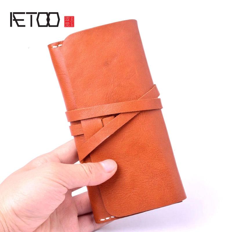 taille 40 cd199 e3c75 AETOO portefeuille en cuir wome longue section boucle manuel tannage  végétal en cuir première couche en cuir portefeuille porte-monnaie boucle  ...