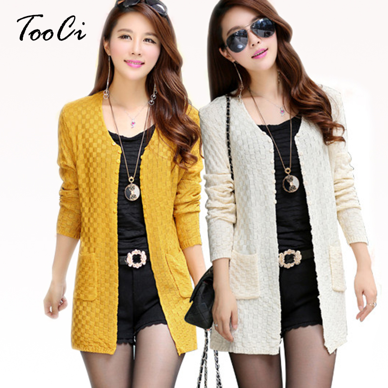 Long Spring  Cardigan With Pockets Female Long Sleeve Knitted Cardigans Feminino Tops Plus Size Pink Cardigan Sueter Mujer