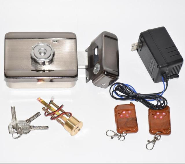 2 keybofs 12vdc indoor intercom door phone rfid access control electric  motorized door lock strike deadbolt with manual keys