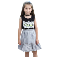 hot deal buy kids baby girls clothing sets 2019 new summer fashion style lace flower printed black t-shirts+ striped dress 2pcs girls clothes