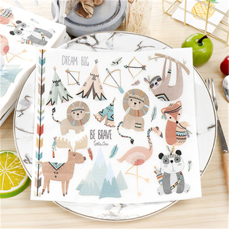 20Pcs Color Printing Paper Towel Napkins Classic Animal Orgy Paper Napkins For Decoupage Birthday Party Decoration Boda Supplies image