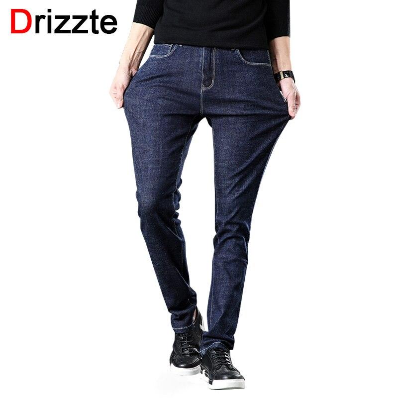 Drizze Men New Winter   Jeans   Denim Mens Stretch   Jeans   Slim Fit Plus Size to 40 42 44 46 Big Men Pants