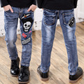 Boys Pants Jeans 2017 Fashion Skull Boys Jeans for Spring Fall Children's Denim Trousers Kids Ripped Jeans Boys Outerwear