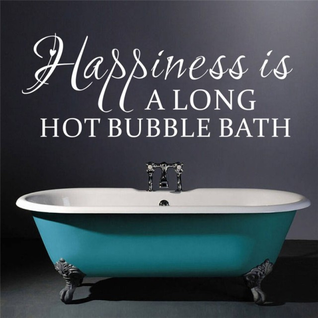 Happiness Is A Long Hot Bubble Bath Quotes Wall Stickers Bathroom