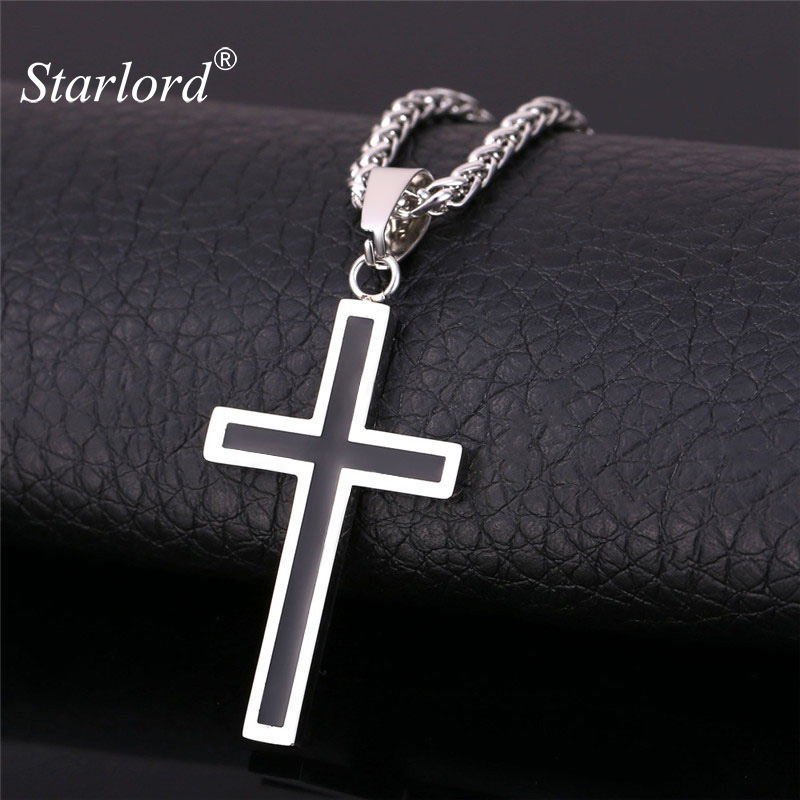 Starlord Cross Necklace & Pendant Christian Jewelry Wholesale 316L Stainless Steel Gold Color Chain Cross Necklace Men GP952 kcchstar cross style 316l stainless steel pendant necklace golden silver