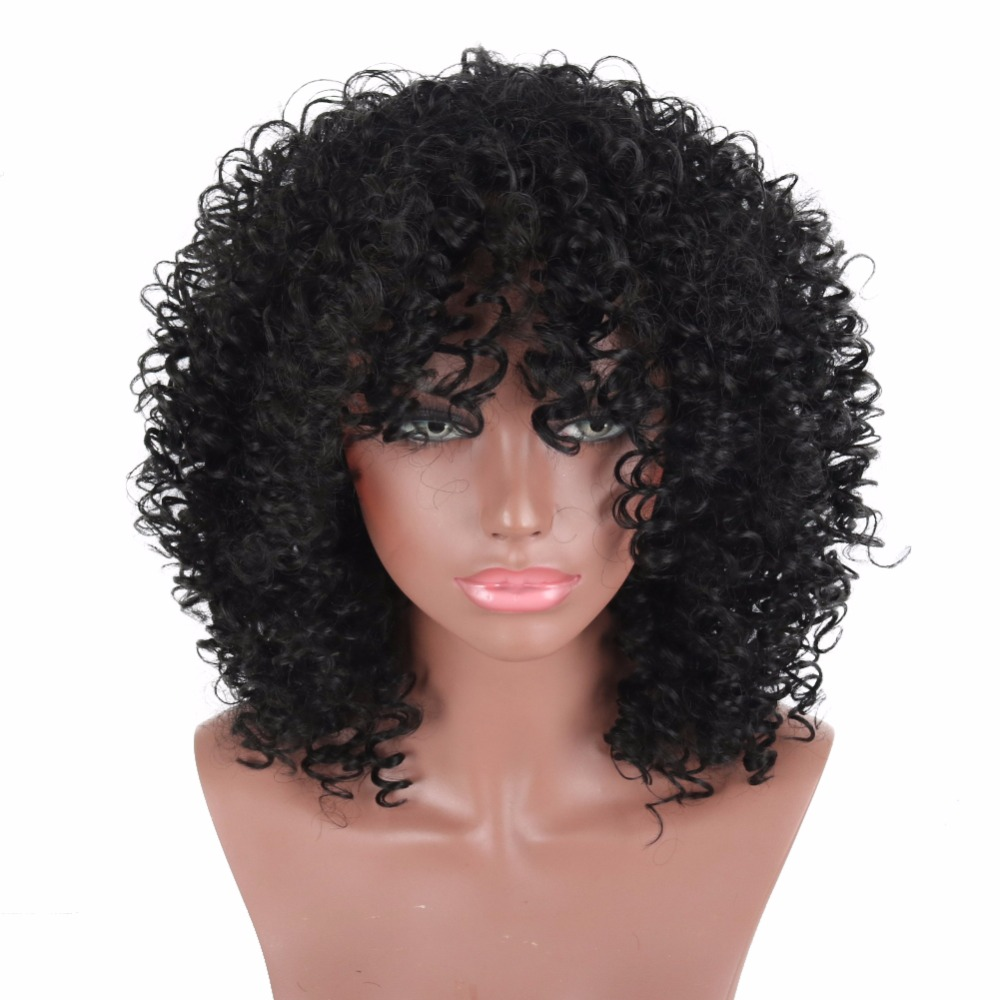 Deyngs 16Inch Afro Kinky Curly Hair Synthetic Wigs For Black Woman Short Hair  Jet Black Heat Resistance Full Wig