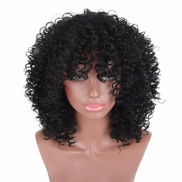 Deyngs 16inch Afro Kinky Curly Hair Synthetic Wigs For Black Woman