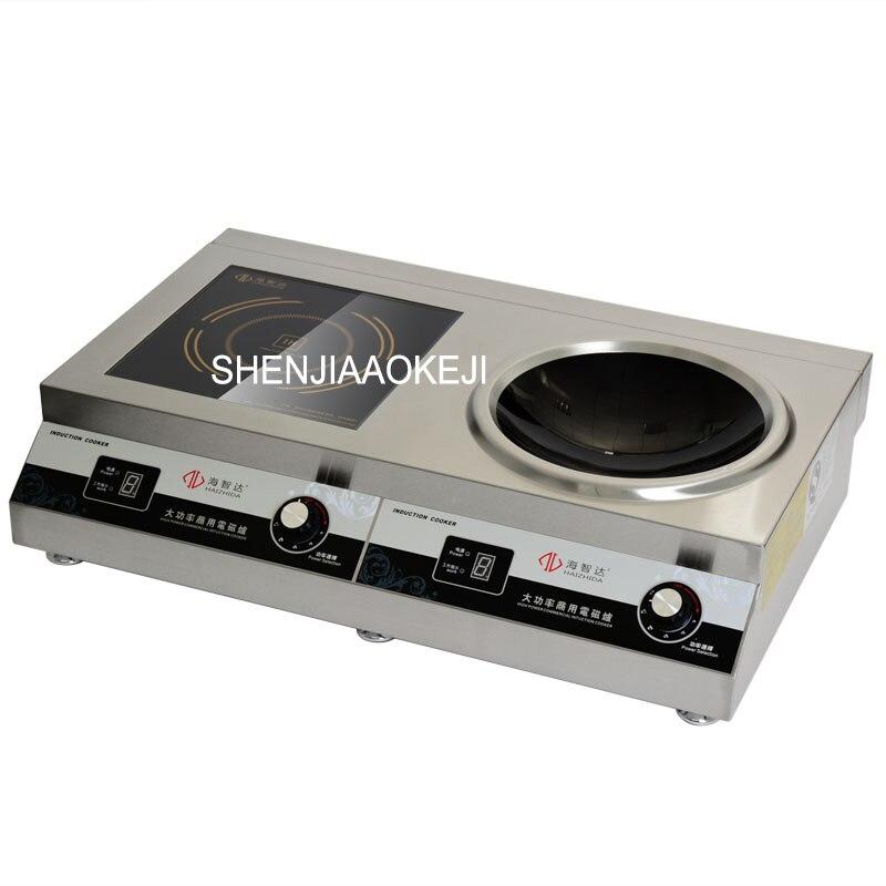Коммерческих индукционная плита двойной головкой печь высокой мощности индукционная плита плоской и вогнутой печи 220 В 1 шт.