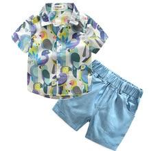 Kids cartoon parrot t shirt+blue shorts set kids seaside vacation clothes children's outwear gentleman clothing suit 17A801