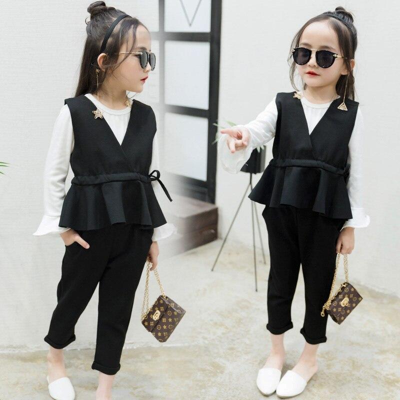 2018 primavera niños ropa niñas establece moda sólido formal del ...