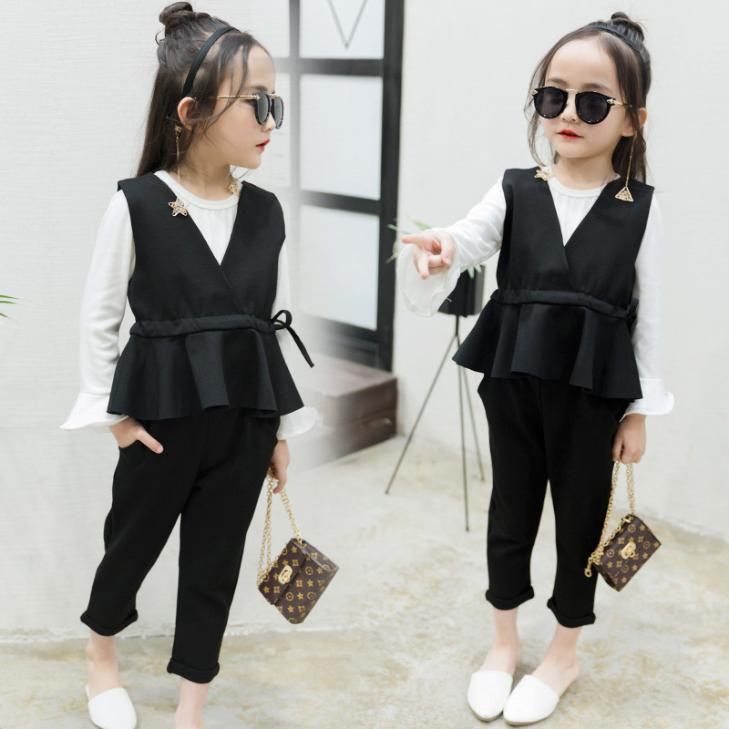 2018 spring children's clothes girls sets fashion solid baby girl formal sets for girls kids suits vest t-shirt 3 pieces suit girls tshirt brand hollow sleeveless o neck baby girl shorts solid elastic waist 2 pieces kids clothes girls 2792w