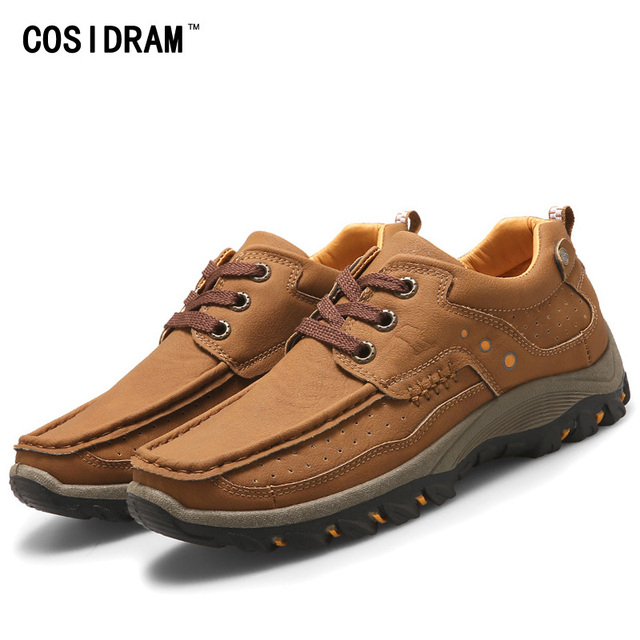 New Autumn Winter Men Casual Shoes Outdoor Waterproof Rubber Men Shoes PU Leather Lace-Up Platform Fashion Male Footwear RMC-308