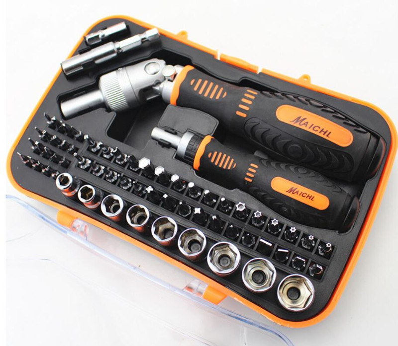 61 in 1 Socket Screwdriver Kit For Repair Tools Household Screwdriver Bits Set Hex Torx Screwdriver With Handle Ratchet Tool pro skit sd 2314m 25 in 1 reversible ratchet screwdriver with bits