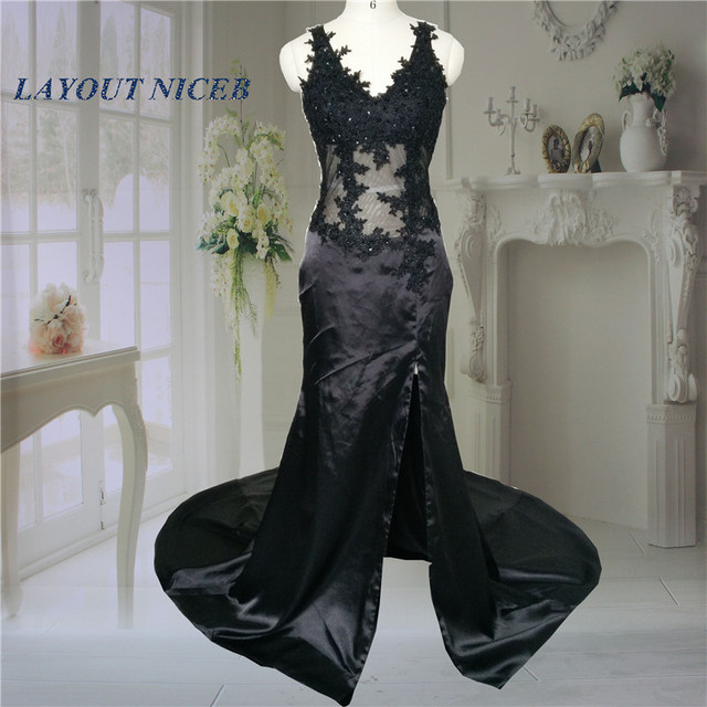 Real Image robe de soiree Sexy Side Slit Elegant Black Lace Evening ...
