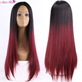 2017 Long Straight Hair black  Red  Ombre wig Heat Resistant Fiber Synthetic Cosplay Wigs pelucas Synthetic Wigs cheap wig