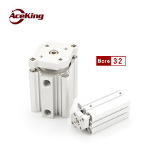 Thin three-bar cylinder with guide rod CDQMB32 cqmb32-5/10/15/20/25/30/35/40/50/75/100 magnetic attachment  CDQMB32-75