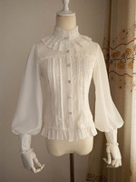 2018 Classic Long Sleeve Gothic Lolita Shirt Cotton Lace White Cosplay Princess Blouses Costume for Girl 3 Colors