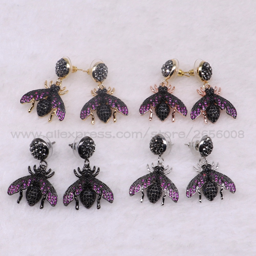 Fashion Micro pave CZ Tiny Bugs insect drop earrings fly insect jewelry Blue wing Bugs drop earrings gift for women <font><b>3082</b></font> image