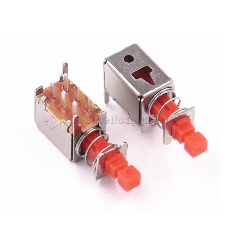 100pcs Directly Key Switch A03 Ps-22f03 6pins No Lock Reset Switch Red