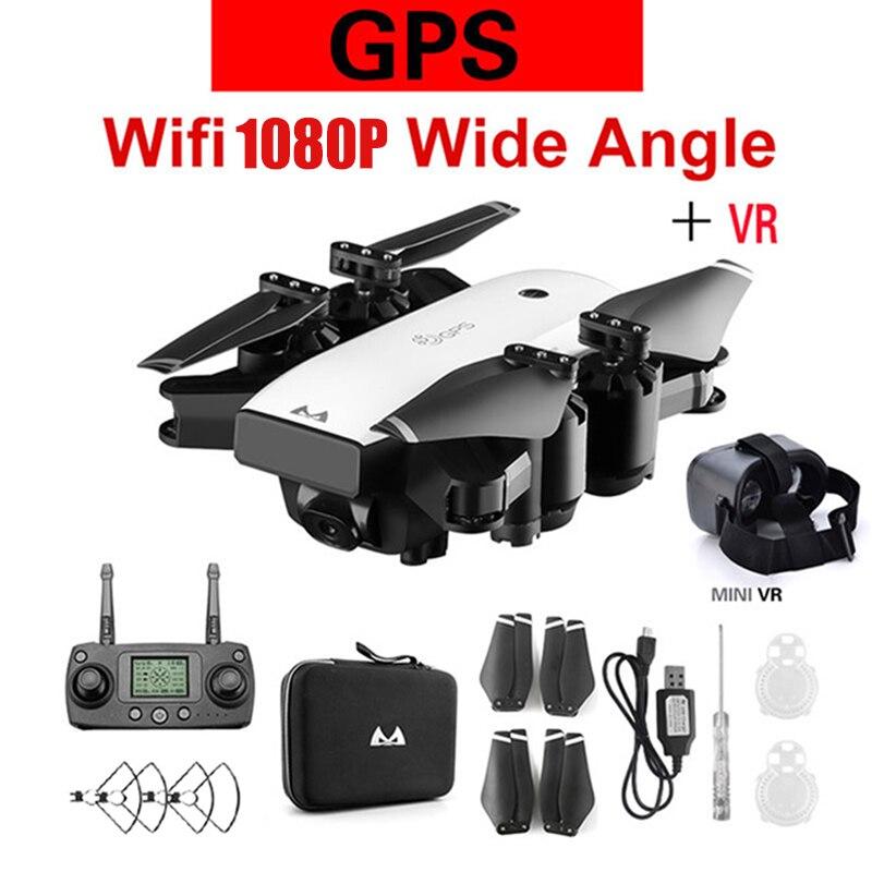 Da corsa Dron con la Macchina Fotografica HD Ampio Angolo di 1080 P 5MP WIFI FPV Helicoptero RC Drone Profissional Follow Me GPS Quadcopter giocattolo aereo