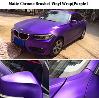1 52x20m Roll Purple Brushed Metallic Chrome Vinyl Wrap For Car Body Wrap Foile With Air
