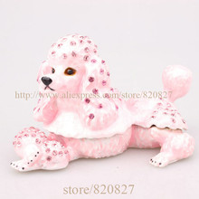 wholesale cheaper metal dust pink poodle trinket jewelry box dog  crafts home decoration vintage dog gift boxes for jewellery