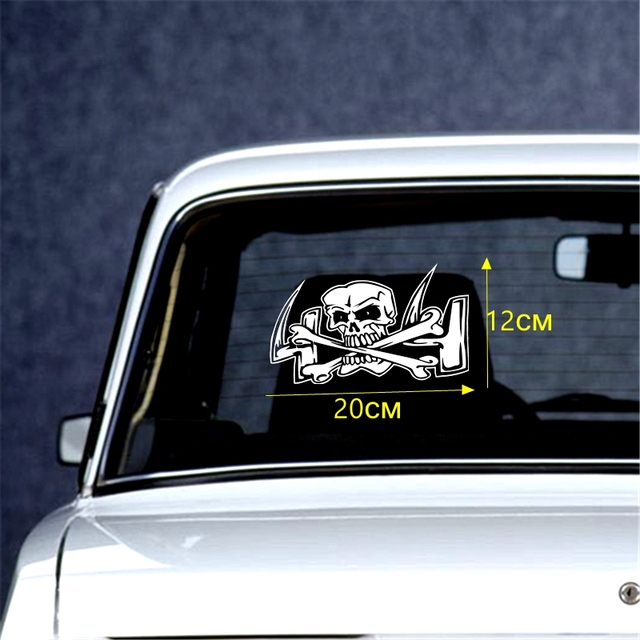 Tri Mishki HZX237# 12*20cm SKULL field 4X4 funny car stickers windscreen Vinyl Decals Accessories Car Sticker autocollant pour