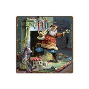 Image 4 - Feliz Natal Papai Noel Presente Alce Windbells Esqui Batismo Retro Placas de Lata de Metal Arte Da Parede Home Decor Poster Ferro para bar Pub