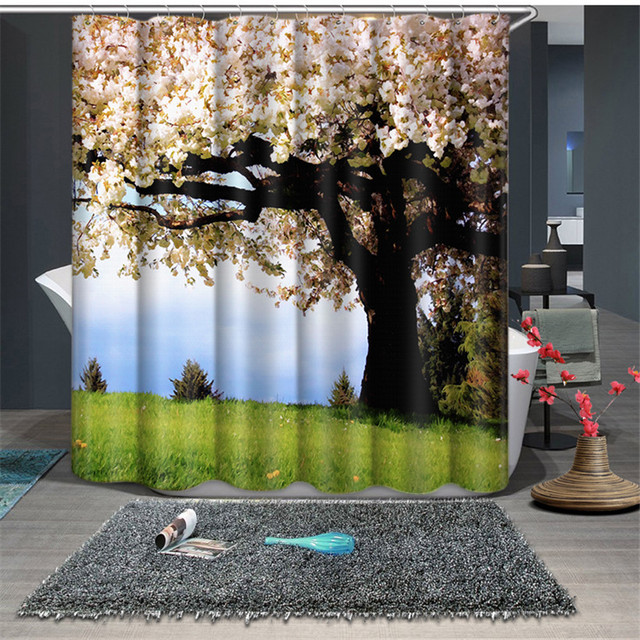 Beautiful Trees Print Modern Style Waterproof Fabric Bathroom Kitchen 3D Shower  Curtains Door Window Curtains