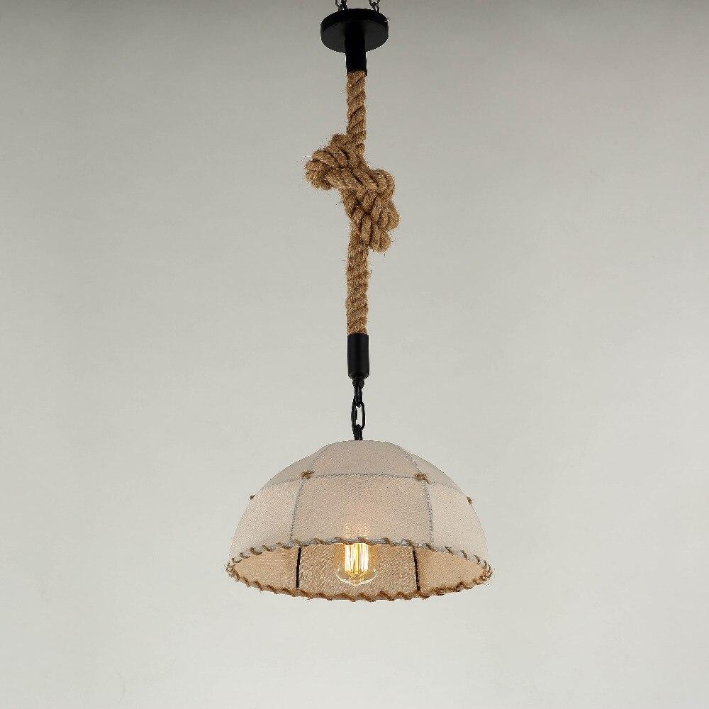 Vintage tricot à la main lampe suspension lumières luminaire corde de chanvre abat-jour E27 titulaire pour cuisine lumière lampe déco salle à manger